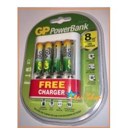 CARGADOR GP PowerBank c/4 Pilas AAA Recargables 950mAh