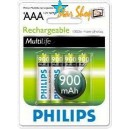 Blister con 4 Pilas Recargables AAA 900mAh Philips