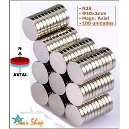 100 IMANES DE NEODIMIO DISCO Φ10x2mm