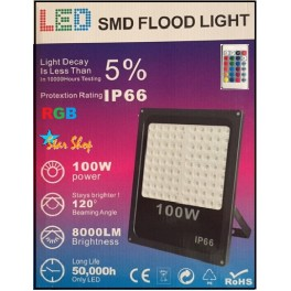 PROYECTOR RGB LED SMD COLOR 100W c/CONTROL REMOTO