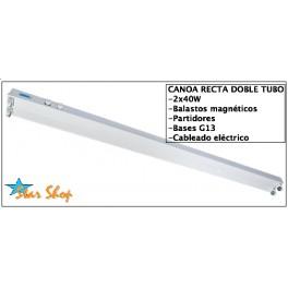 CANOA RECTA METÁLICA 2x36/40W ACERO REFORZADO