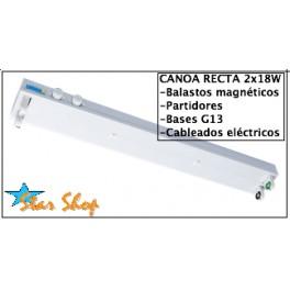 CANOA RECTA METÁLICA 2x18/20W ACERO REFORZADO