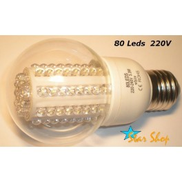 AMPOLLETA  80 LEDS VIDRIO ESTANDAR 220V BASE E27