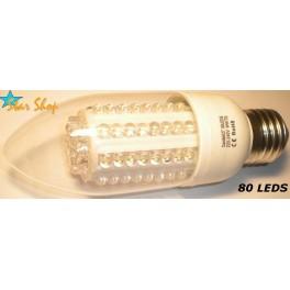AMPOLLETA 80 LEDS TIPO VELA 220V BASE E27