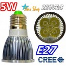 AMPOLLETA LED 5W CREE  BASE ROSCA E27, 220V