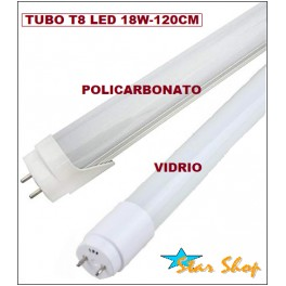 TUBO T8 LED 18W - 120cm, LUZ BLANCA FRÍA y CÁLIDA
