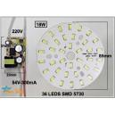 PLACA LED SMD REDONDA 18W CON DRIVER 220V